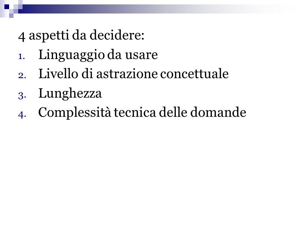 4 aspetti da decidere: Linguaggio da usare. Livello di astrazione concettuale.