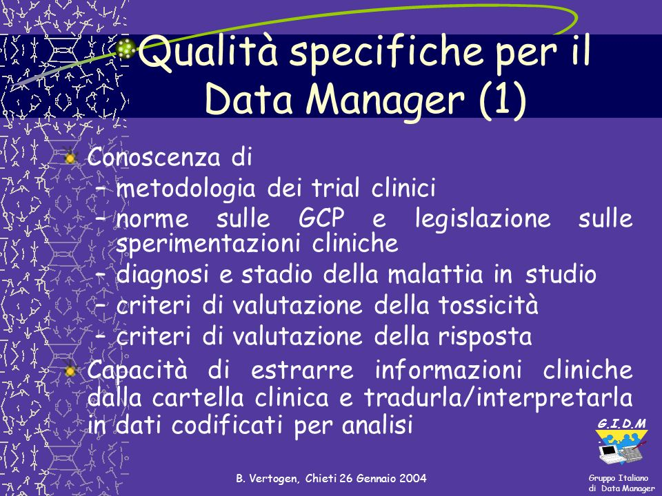 Qualità specifiche per il Data Manager (1)