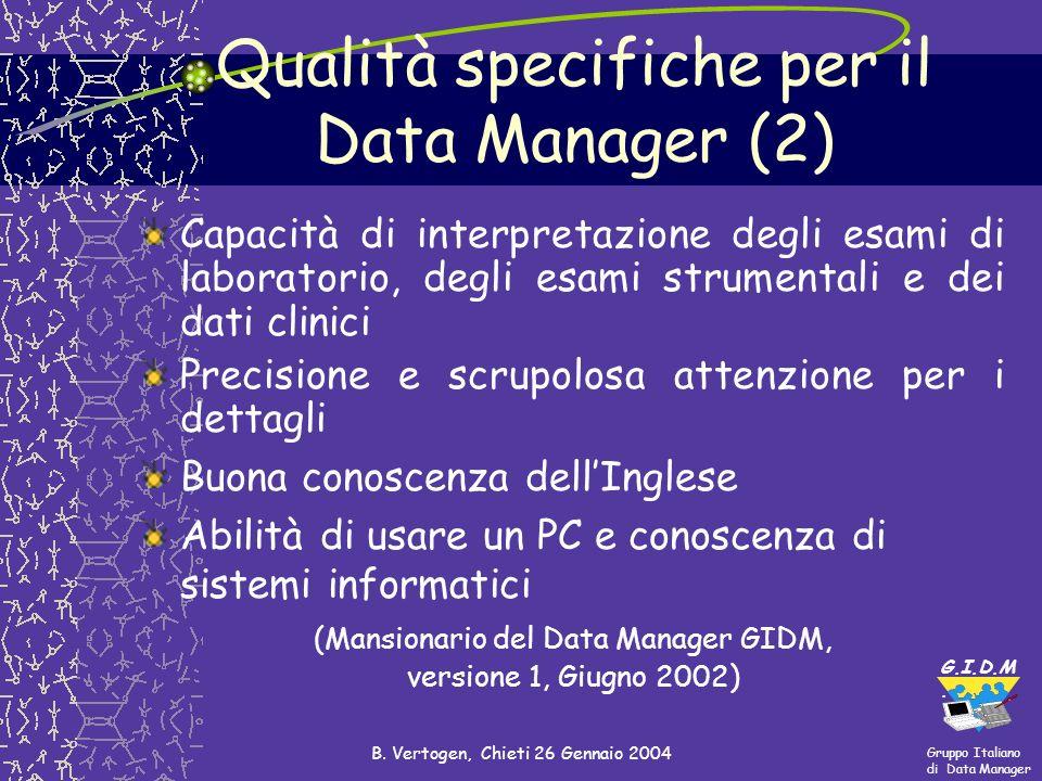Qualità specifiche per il Data Manager (2)