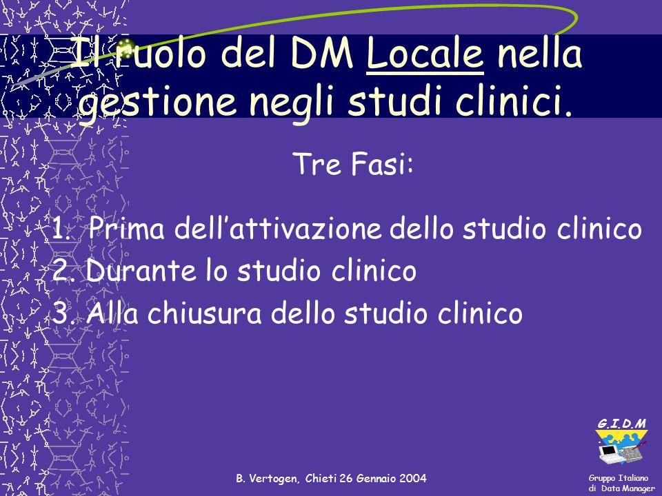 Il ruolo del DM Locale nella gestione negli studi clinici.