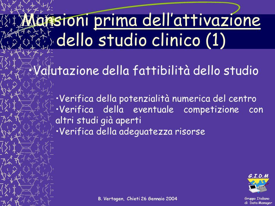 Mansioni prima dell'attivazione dello studio clinico (1)