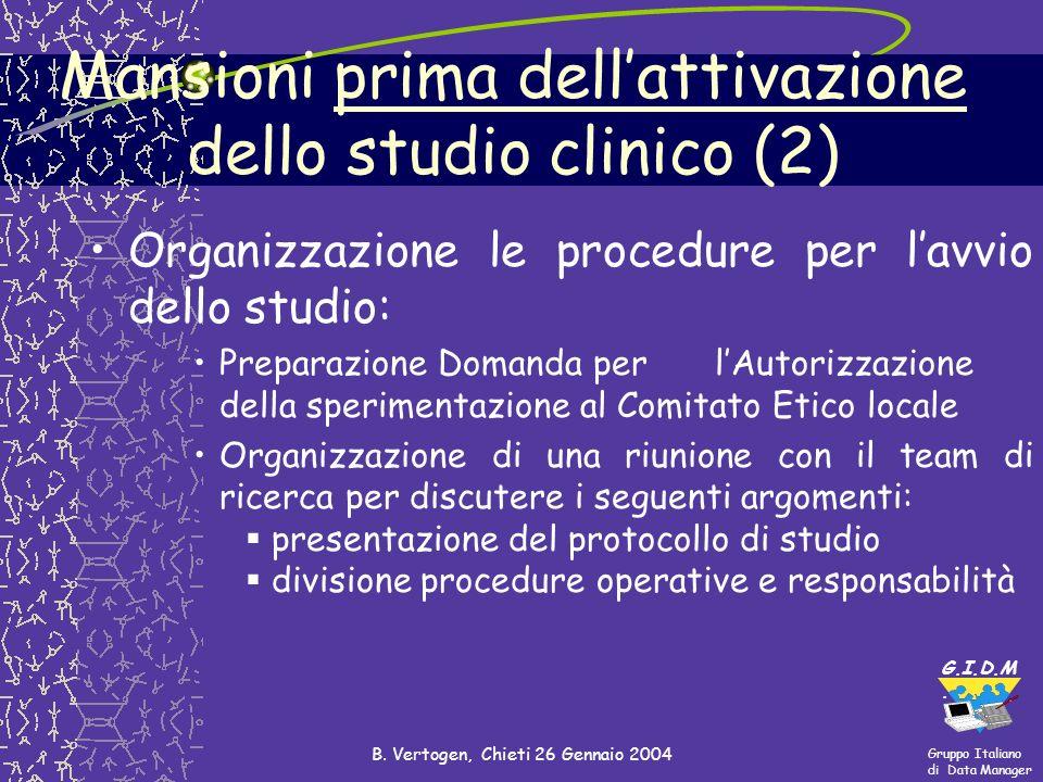 Mansioni prima dell'attivazione dello studio clinico (2)