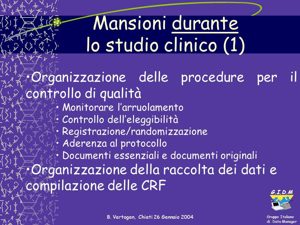 Mansioni durante lo studio clinico (1)