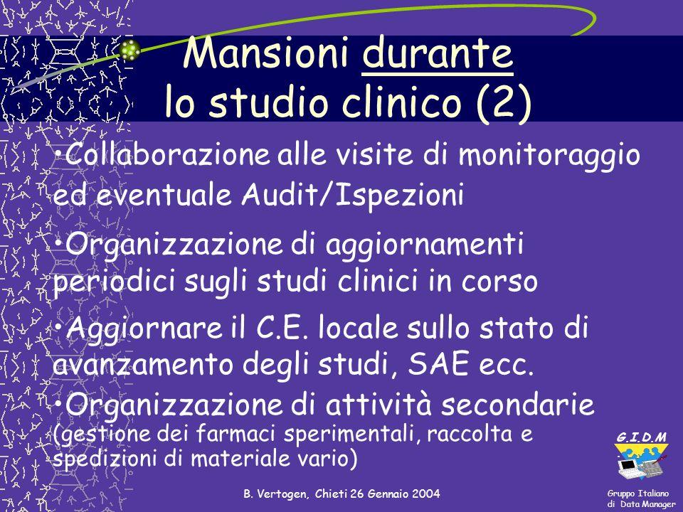 Mansioni durante lo studio clinico (2)