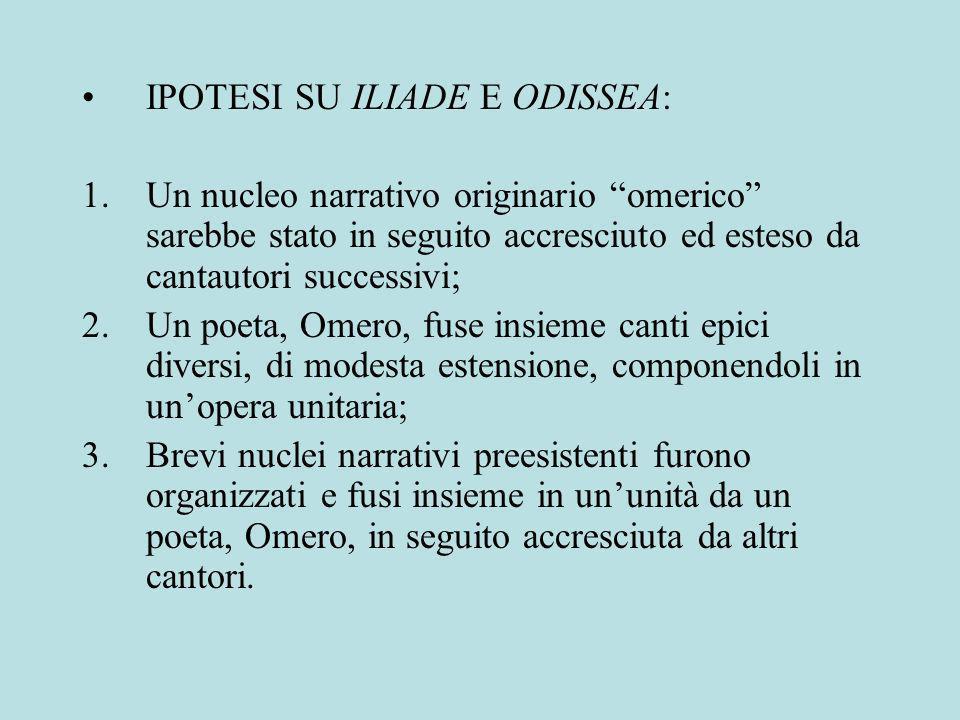 IPOTESI SU ILIADE E ODISSEA:
