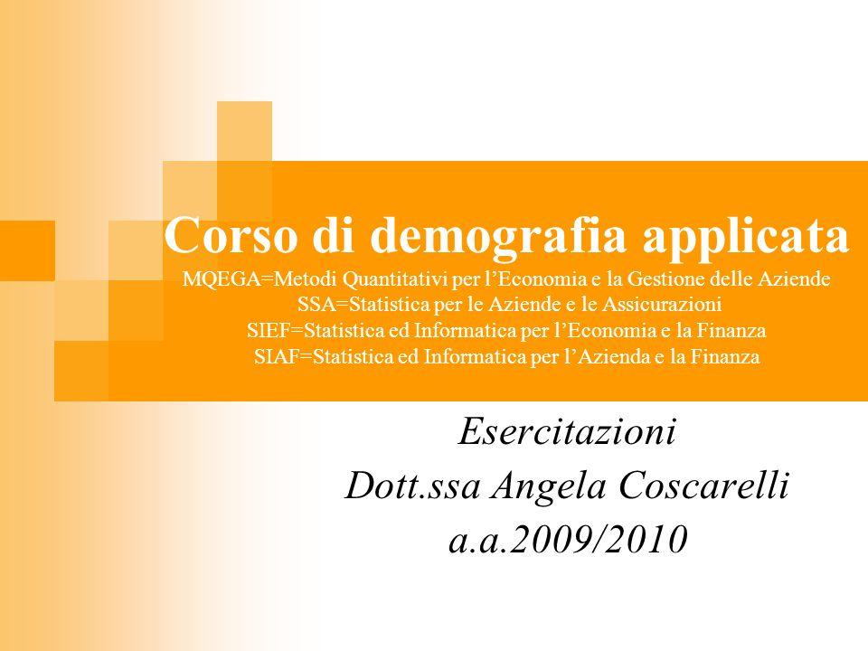 Esercitazioni Dott.ssa Angela Coscarelli a.a.2009/2010
