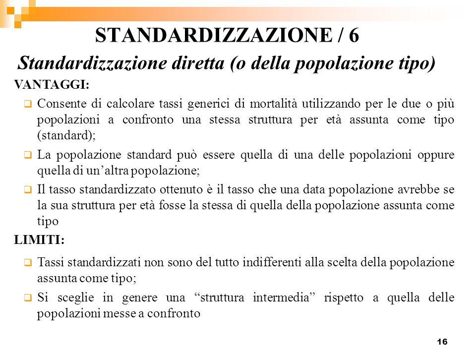 STANDARDIZZAZIONE / 6 Standardizzazione diretta (o della popolazione tipo) VANTAGGI:
