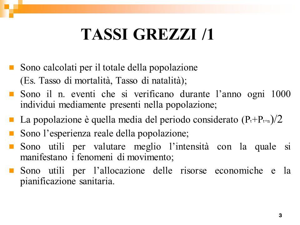 TASSI GREZZI /1 Sono calcolati per il totale della popolazione