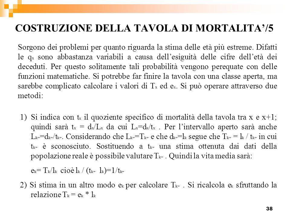 COSTRUZIONE DELLA TAVOLA DI MORTALITA'/5