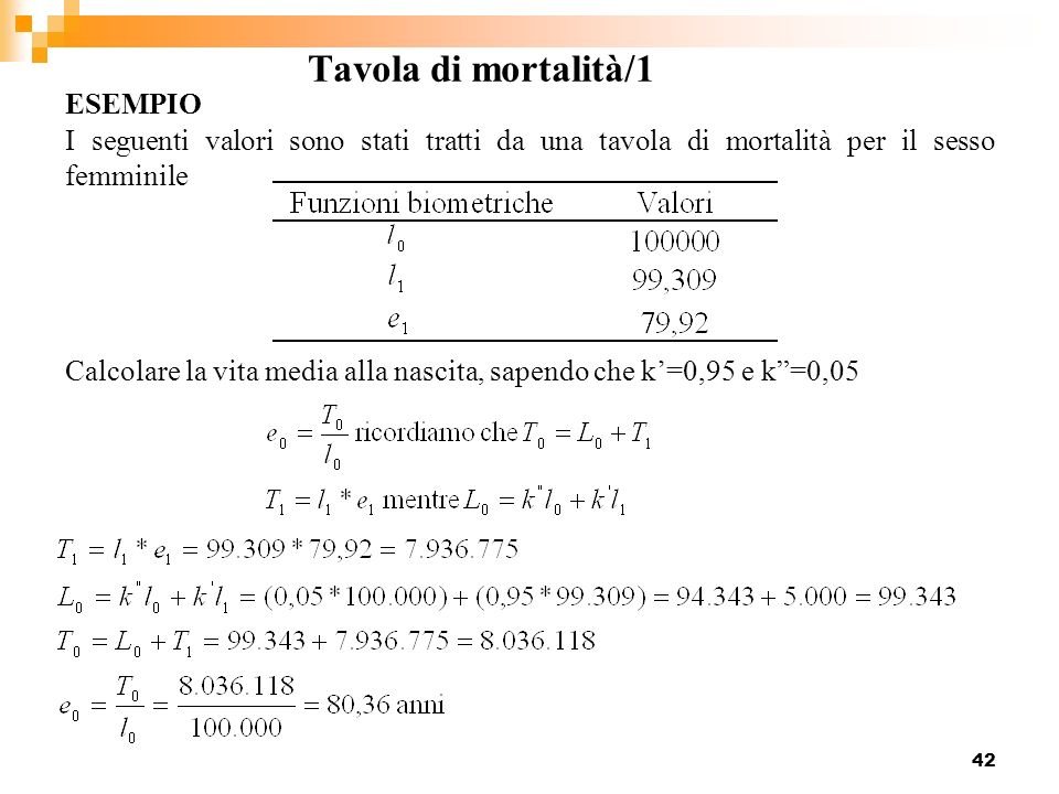 Tavola di mortalità/1 ESEMPIO