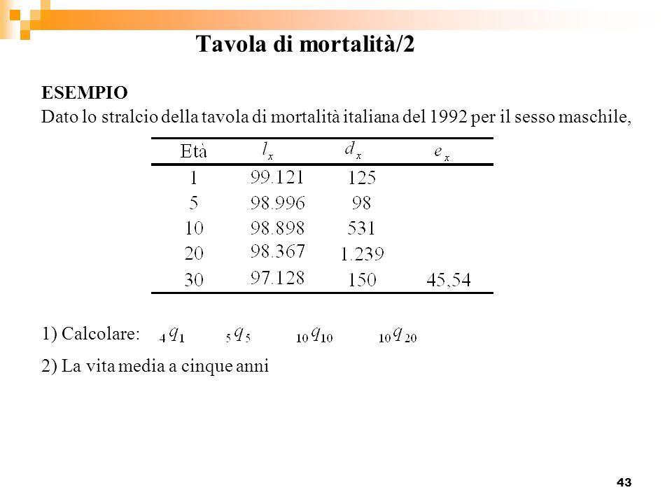 Tavola di mortalità/2 ESEMPIO