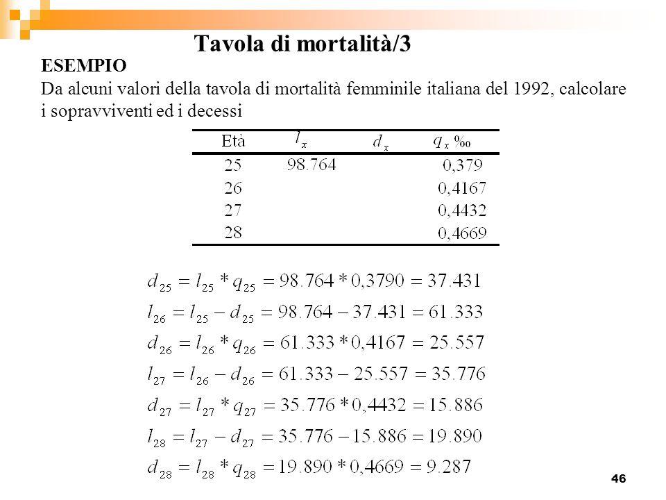 Tavola di mortalità/3 ESEMPIO