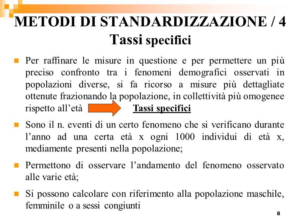 METODI DI STANDARDIZZAZIONE / 4 Tassi specifici