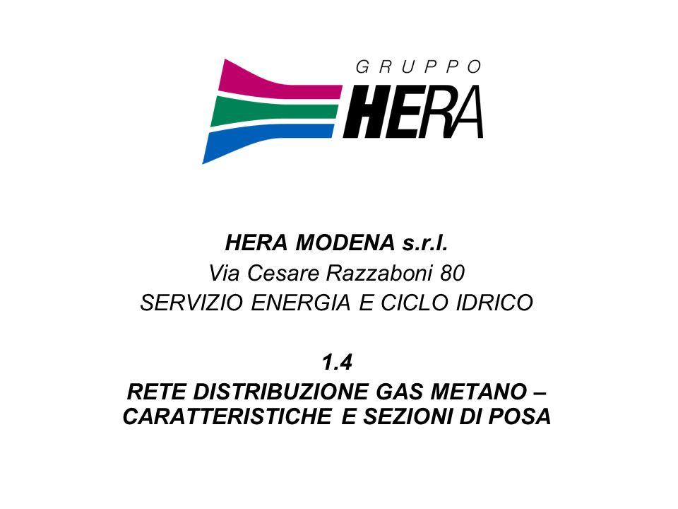 RETE DISTRIBUZIONE GAS METANO – CARATTERISTICHE E SEZIONI DI POSA