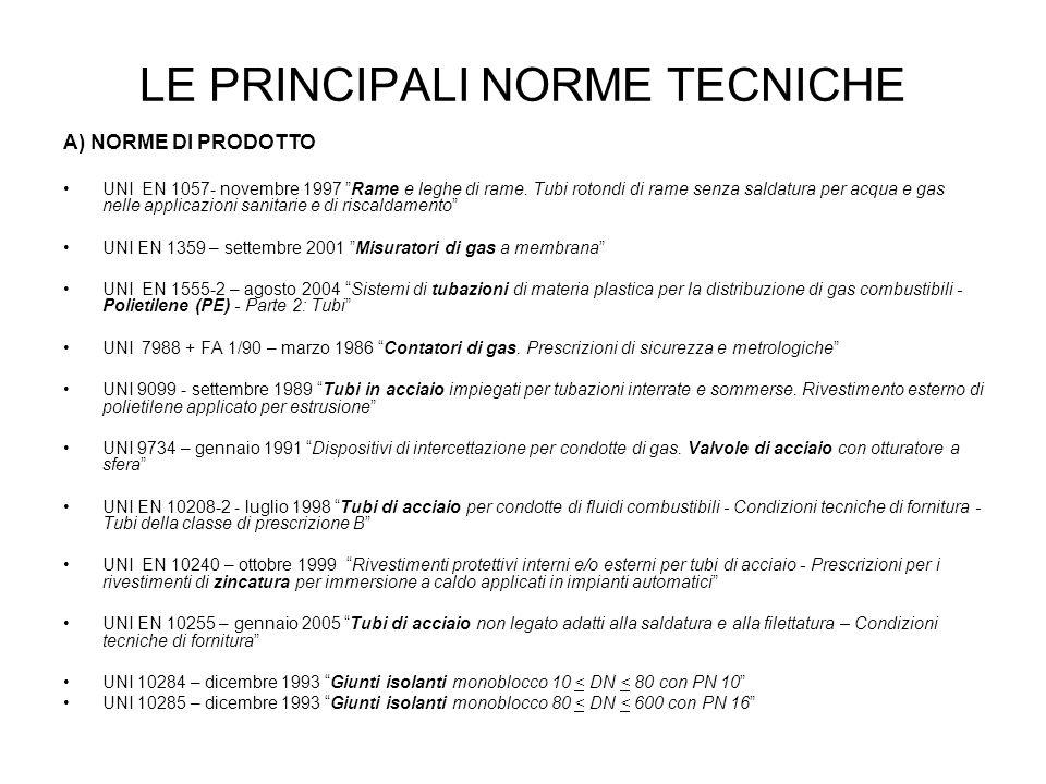 LE PRINCIPALI NORME TECNICHE