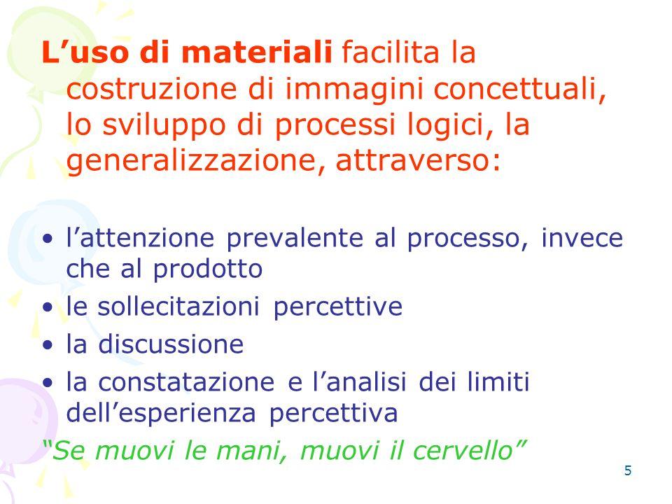 L'uso di materiali facilita la costruzione di immagini concettuali, lo sviluppo di processi logici, la generalizzazione, attraverso: