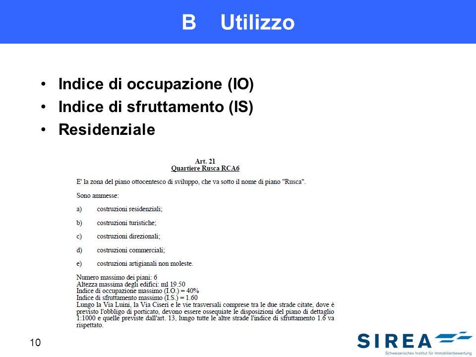 B Utilizzo Indice di occupazione (IO) Indice di sfruttamento (IS)