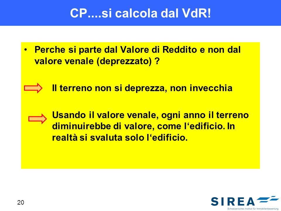 CP....si calcola dal VdR! Perche si parte dal Valore di Reddito e non dal valore venale (deprezzato)