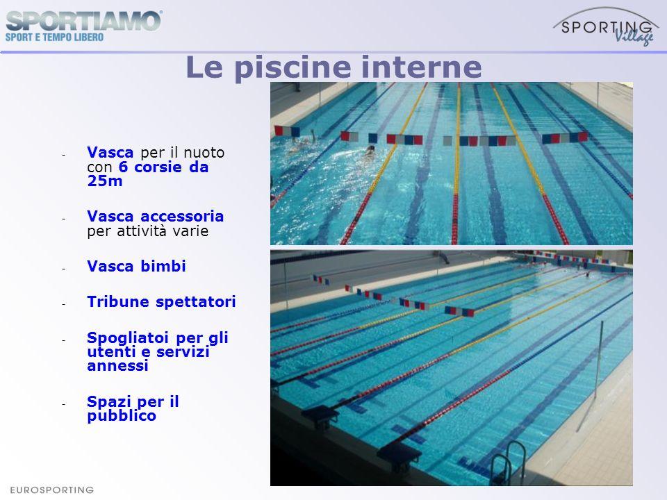 Le piscine interne Vasca per il nuoto con 6 corsie da 25m