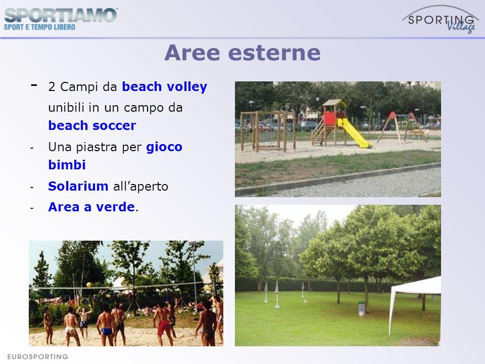 Aree esterne- 2 Campi da beach volley unibili in un campo da beach soccer. Una piastra per gioco bimbi.