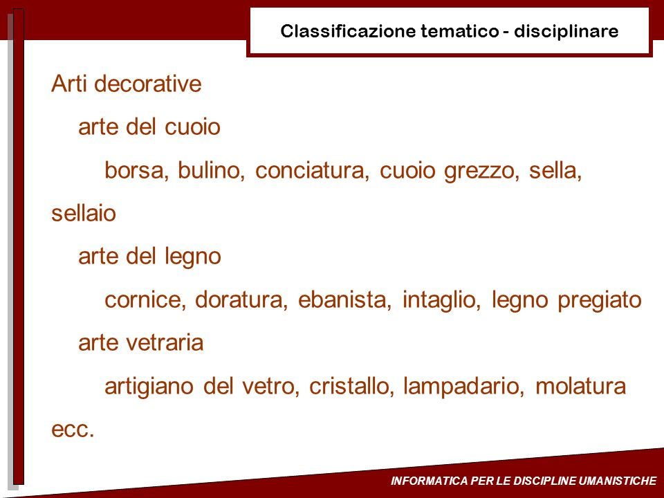 Classificazione tematico - disciplinare