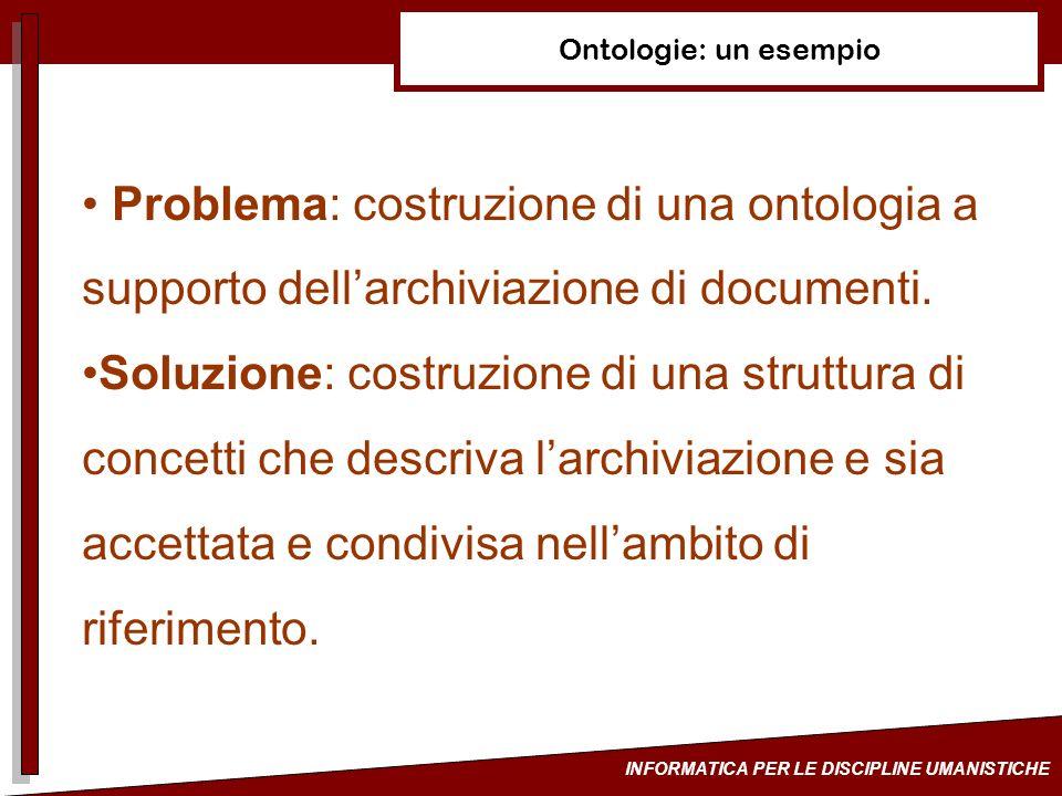 Ontologie: un esempio Problema: costruzione di una ontologia a supporto dell'archiviazione di documenti.