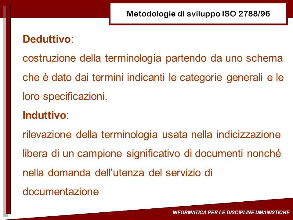 Metodologie di sviluppo ISO 2788/96