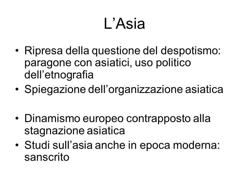 L'Asia Ripresa della questione del despotismo: paragone con asiatici, uso politico dell'etnografia.
