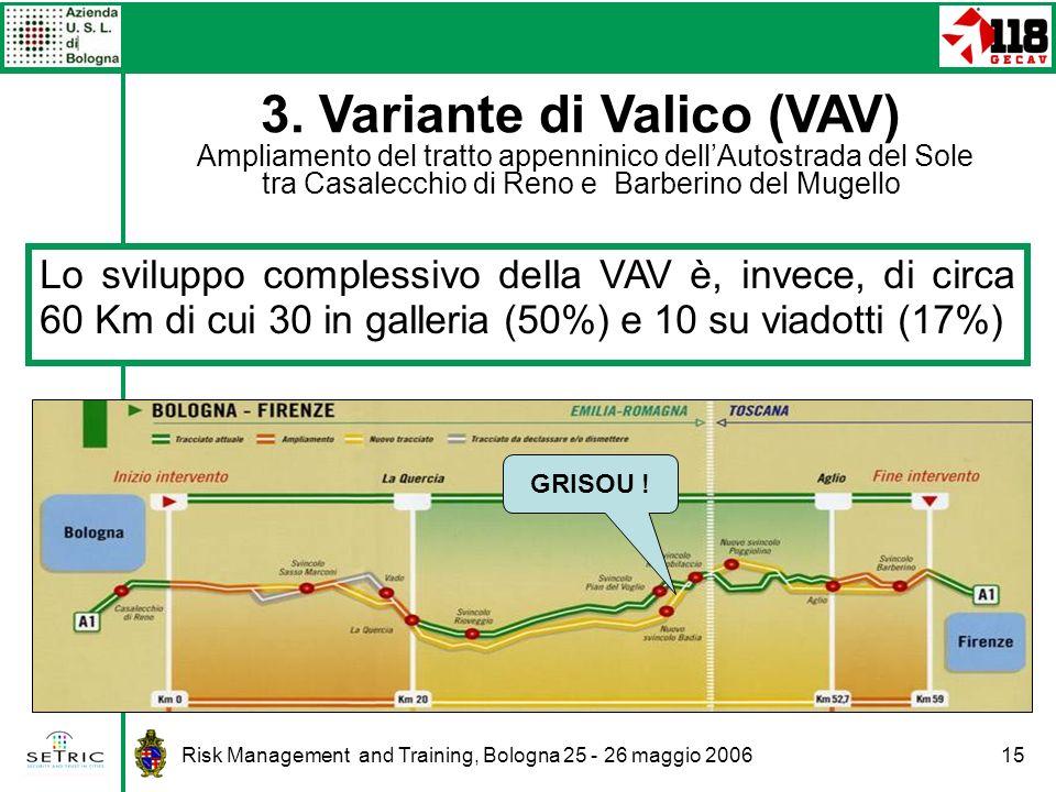 3. Variante di Valico (VAV) Ampliamento del tratto appenninico dell'Autostrada del Sole tra Casalecchio di Reno e Barberino del Mugello