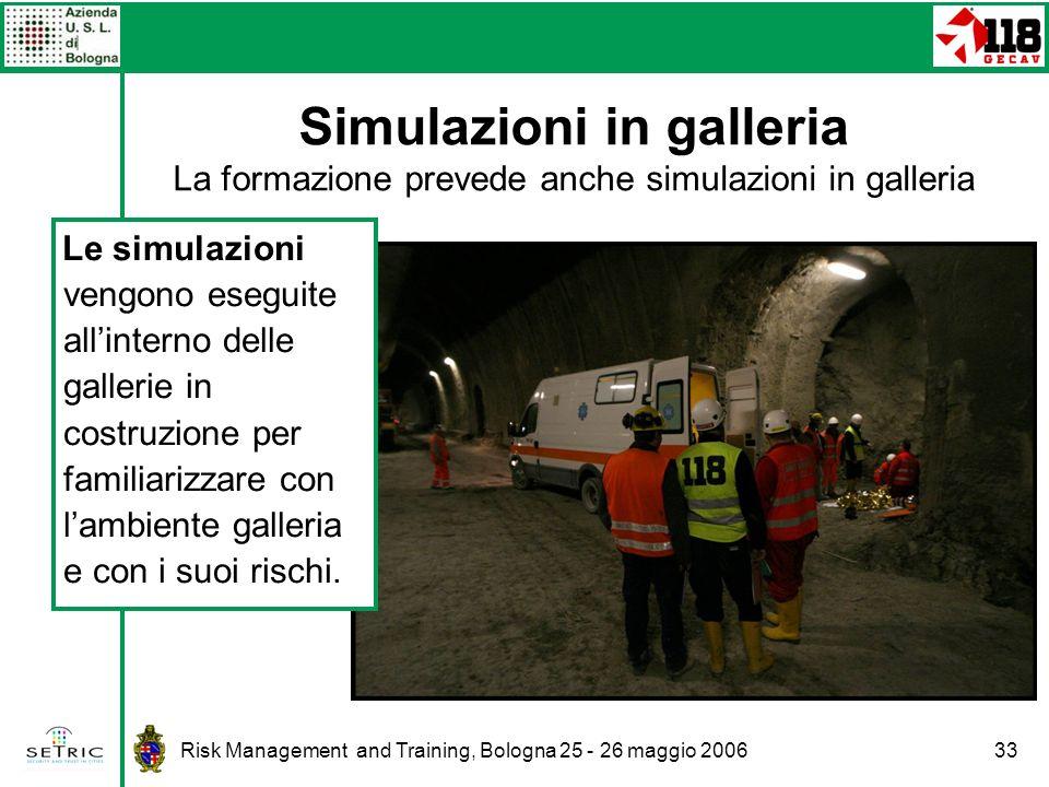 Simulazioni in galleria La formazione prevede anche simulazioni in galleria