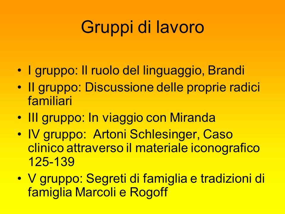 Gruppi di lavoro I gruppo: Il ruolo del linguaggio, Brandi