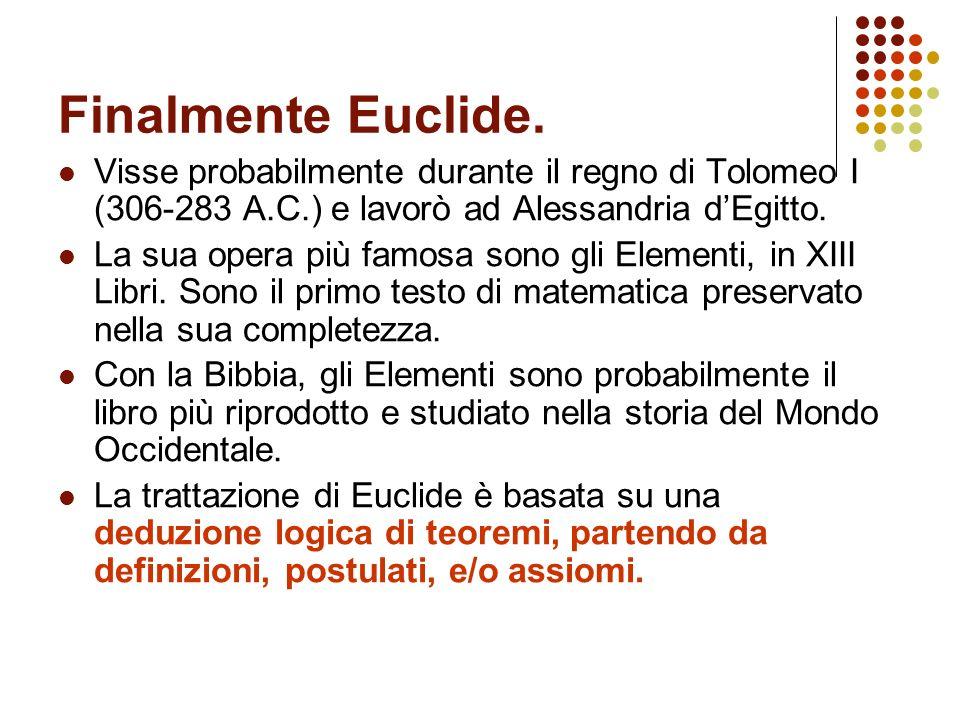 Finalmente Euclide.Visse probabilmente durante il regno di Tolomeo I (306-283 A.C.) e lavorò ad Alessandria d'Egitto.