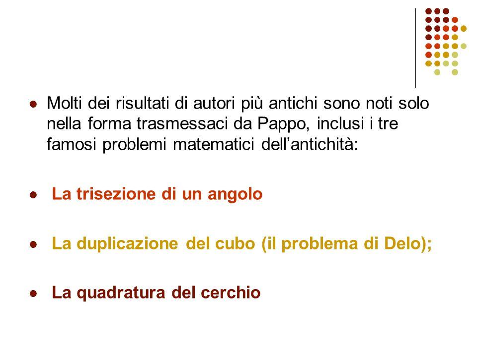 Molti dei risultati di autori più antichi sono noti solo nella forma trasmessaci da Pappo, inclusi i tre famosi problemi matematici dell'antichità:
