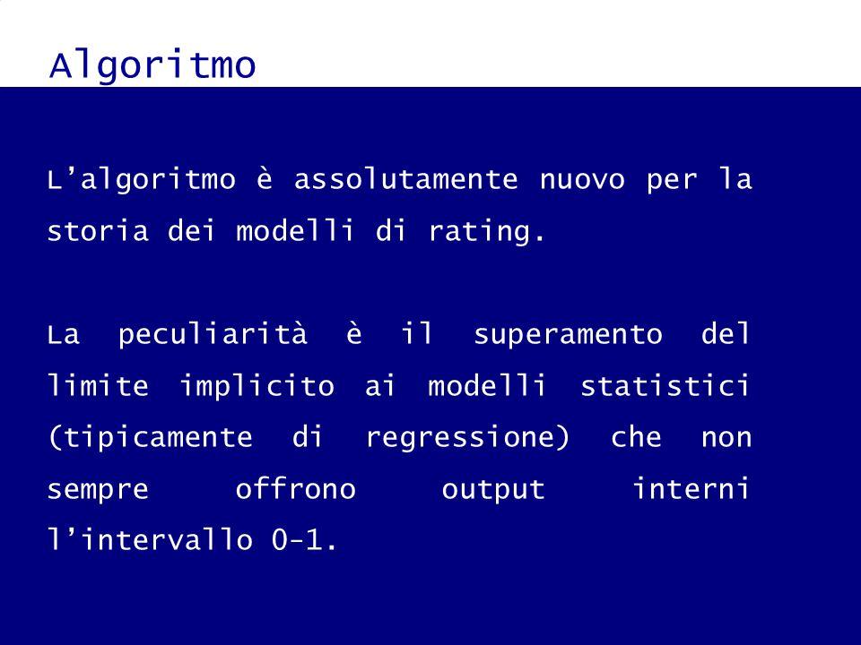 Algoritmo L'algoritmo è assolutamente nuovo per la storia dei modelli di rating.