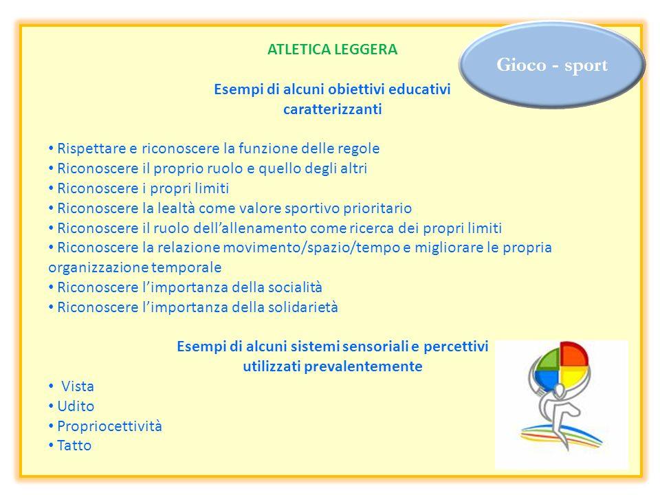 Gioco - sport ATLETICA LEGGERA Esempi di alcuni obiettivi educativi