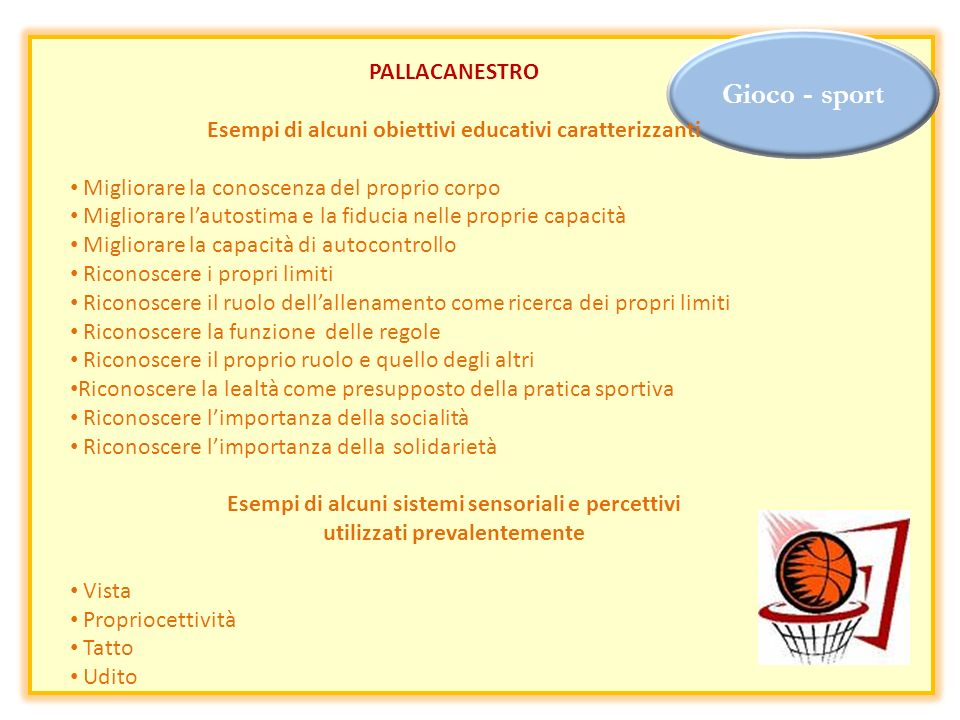 Gioco - sport PALLACANESTRO