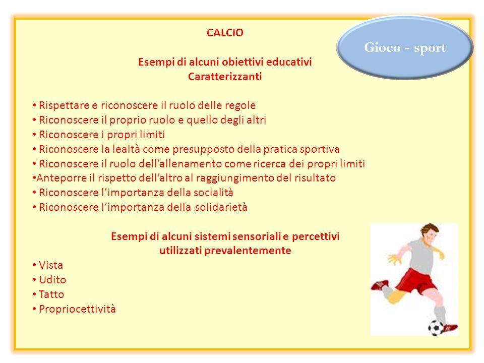 Gioco - sport CALCIO Esempi di alcuni obiettivi educativi