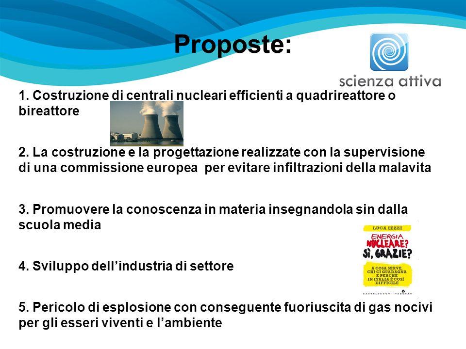Proposte: 1. Costruzione di centrali nucleari efficienti a quadrireattore o bireattore.