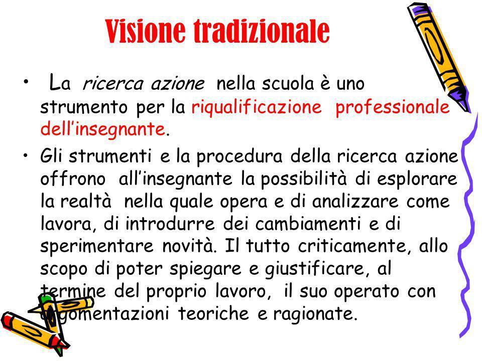 Visione tradizionaleLa ricerca azione nella scuola è uno strumento per la riqualificazione professionale dell'insegnante.