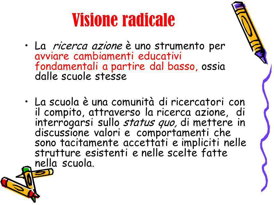 Visione radicaleLa ricerca azione è uno strumento per avviare cambiamenti educativi fondamentali a partire dal basso, ossia dalle scuole stesse.