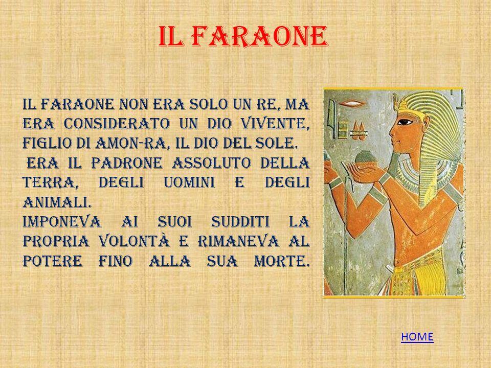 IL FARAONE Il Faraone non era solo un re, ma era considerato un dio vivente, figlio di Amon-Ra, il dio del Sole.