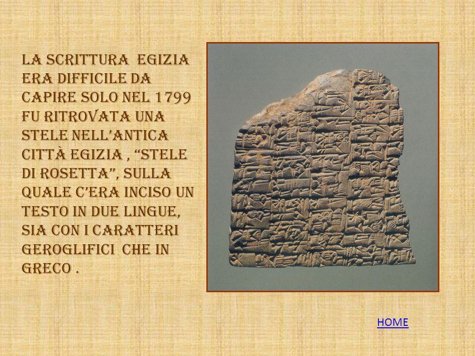 La scrittura egizia era difficile da capire solo nel 1799 fu ritrovata una stele nell'antica città egizia , Stele di Rosetta , sulla quale c'era inciso un testo in due lingue, sia con i caratteri geroglifici che in greco .