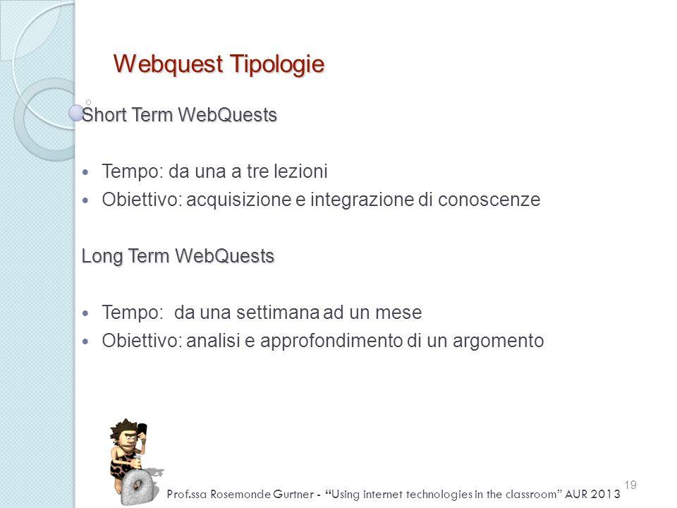 Webquest Tipologie Short Term WebQuests Tempo: da una a tre lezioni