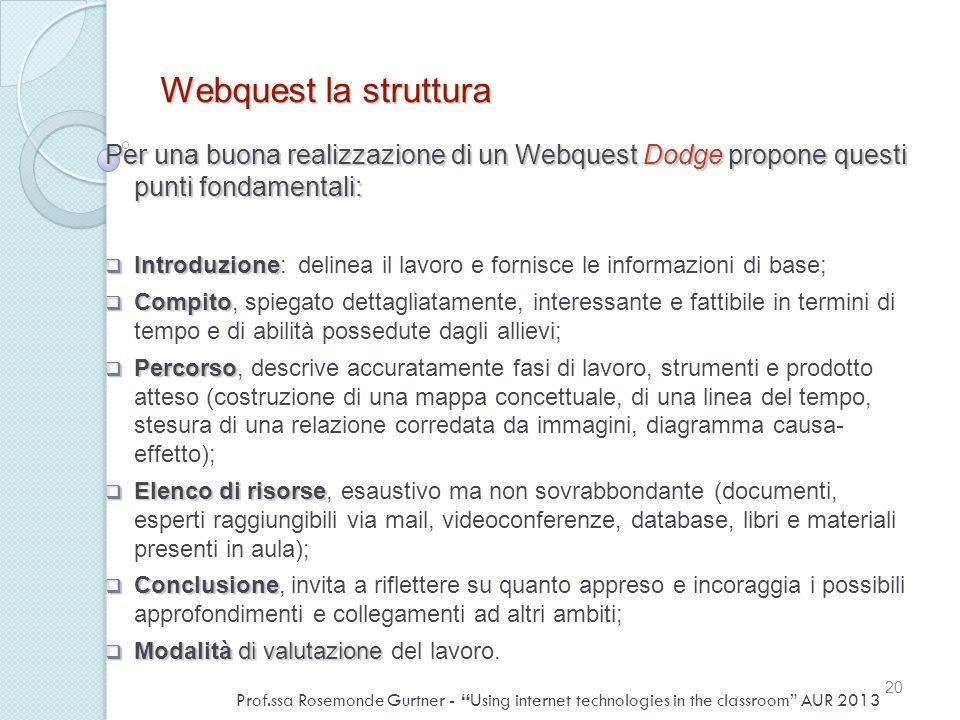 Webquest la struttura Per una buona realizzazione di un Webquest Dodge propone questi punti fondamentali:
