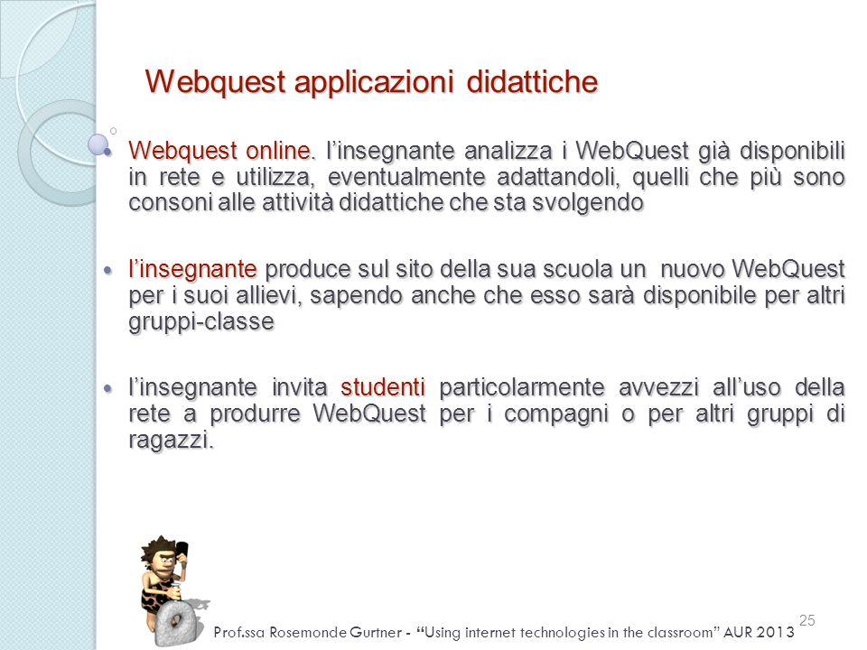 Webquest applicazioni didattiche