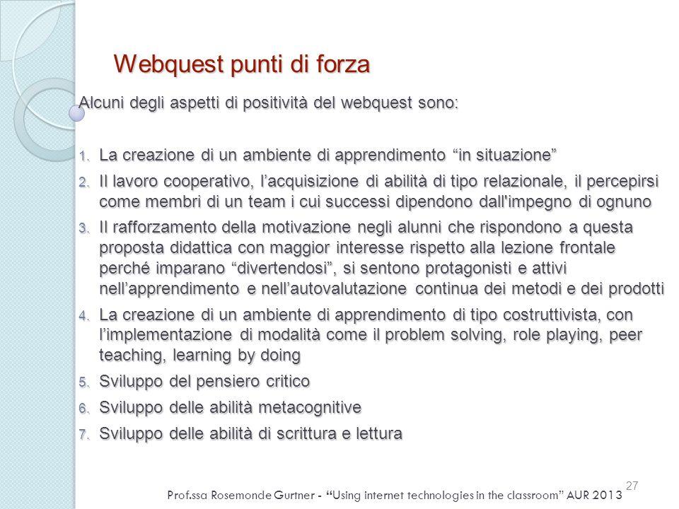 Webquest punti di forza