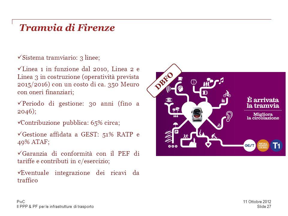 Tramvia di Firenze DBFO Sistema tramviario: 3 linee;