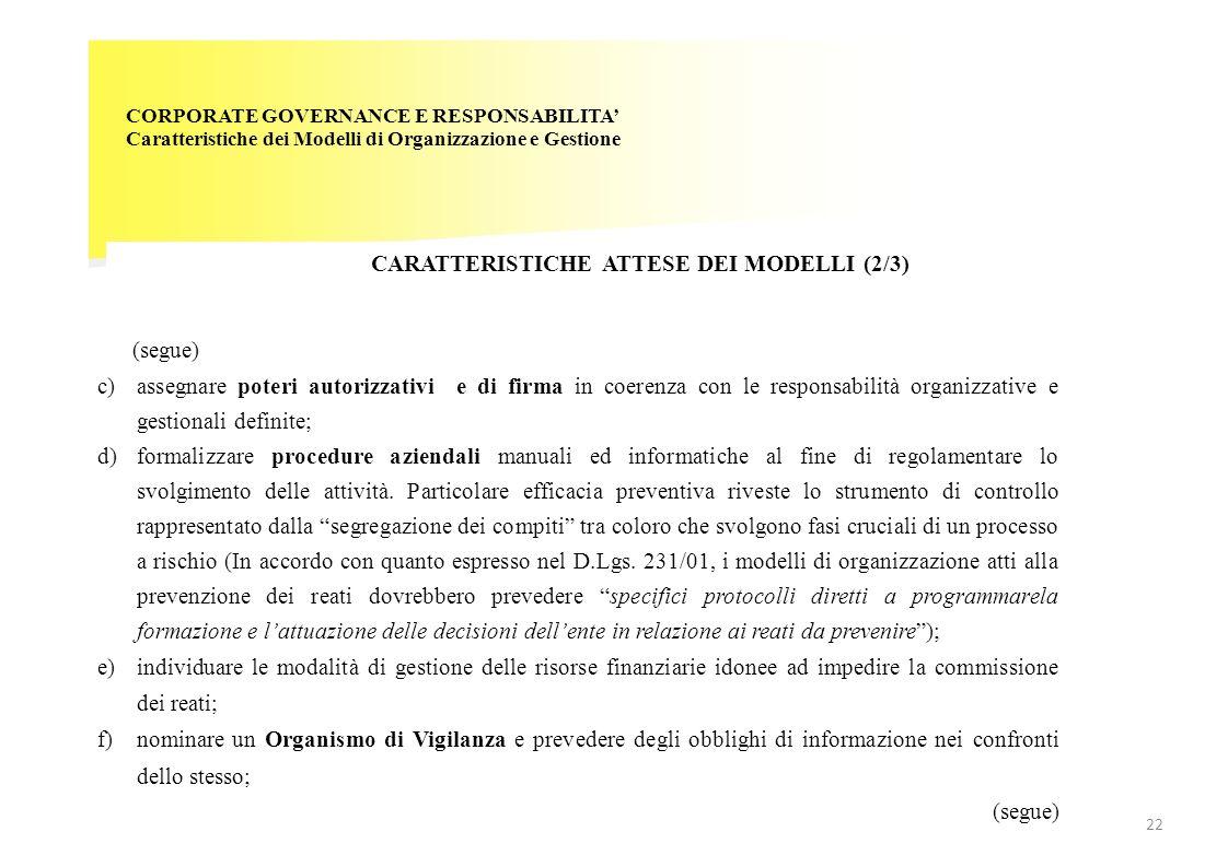 CARATTERISTICHE ATTESE DEI MODELLI (2/3)