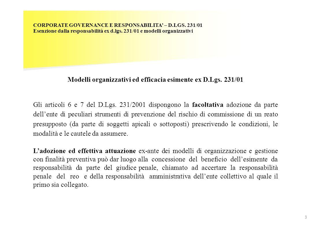 Modelli organizzativi ed efficacia esimente ex D.Lgs. 231/01