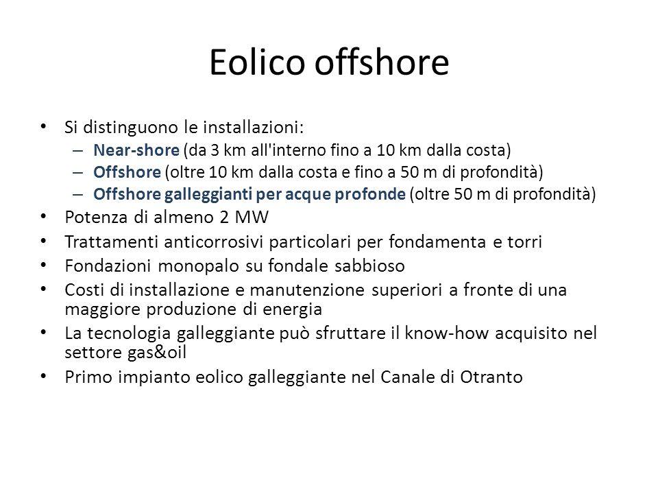 Eolico offshore Si distinguono le installazioni: